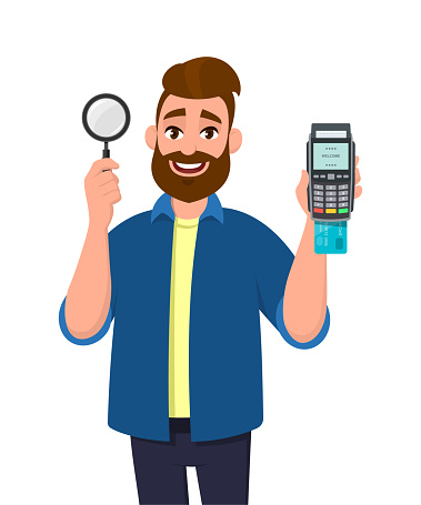 Attractive young bearded man showing/holding magnifying glass and credit/debit card swiping machine or POS terminal. Search, find, discovery, analyze, inspect, investigation concept illustration.