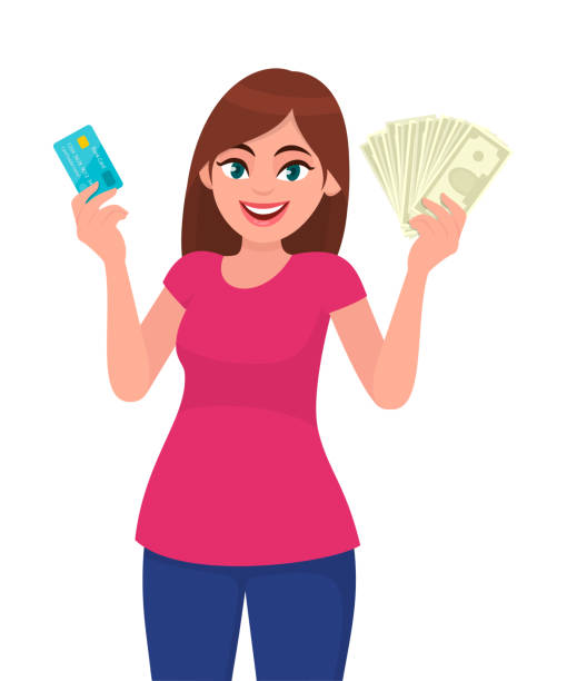 attractive young woman holding or showing a credit/debit card and cash/money/currency notes in hand. wireless modern bank payment. business, payment and finance concept illustration in vector cartoon. - credit card stock illustrations