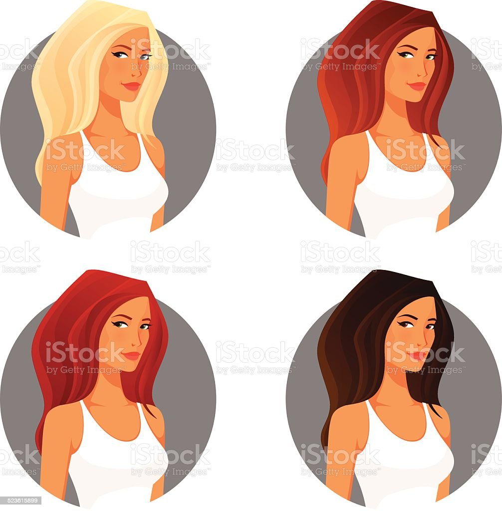 attractive young woman with various hair color vector art illustration