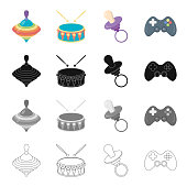 Attributes, care, tools and other  icon in cartoon style.Prefix, game, tool, icons in set collection.