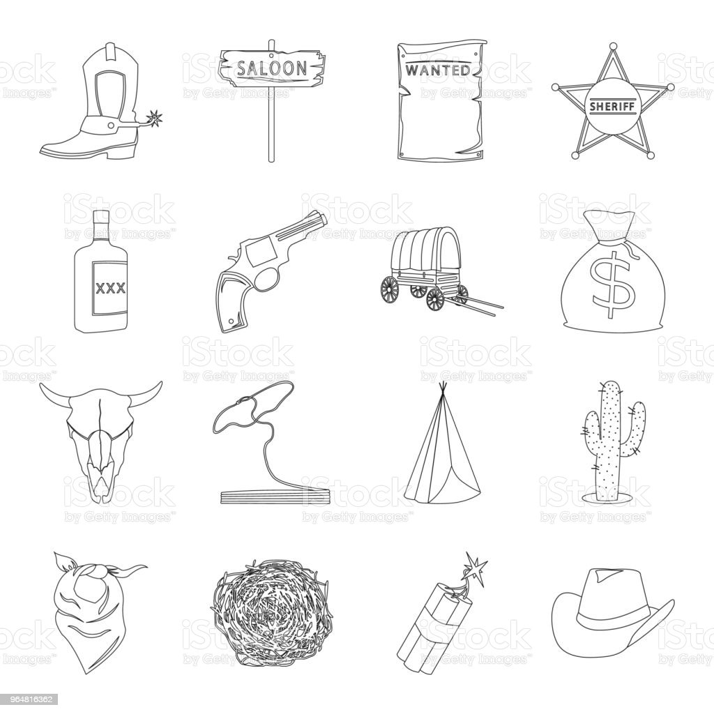 Attributes of the wild west outline icons in set collection for design.Texas and America vector symbol stock web illustration. royalty-free attributes of the wild west outline icons in set collection for designtexas and america vector symbol stock web illustration stock vector art & more images of alcohol