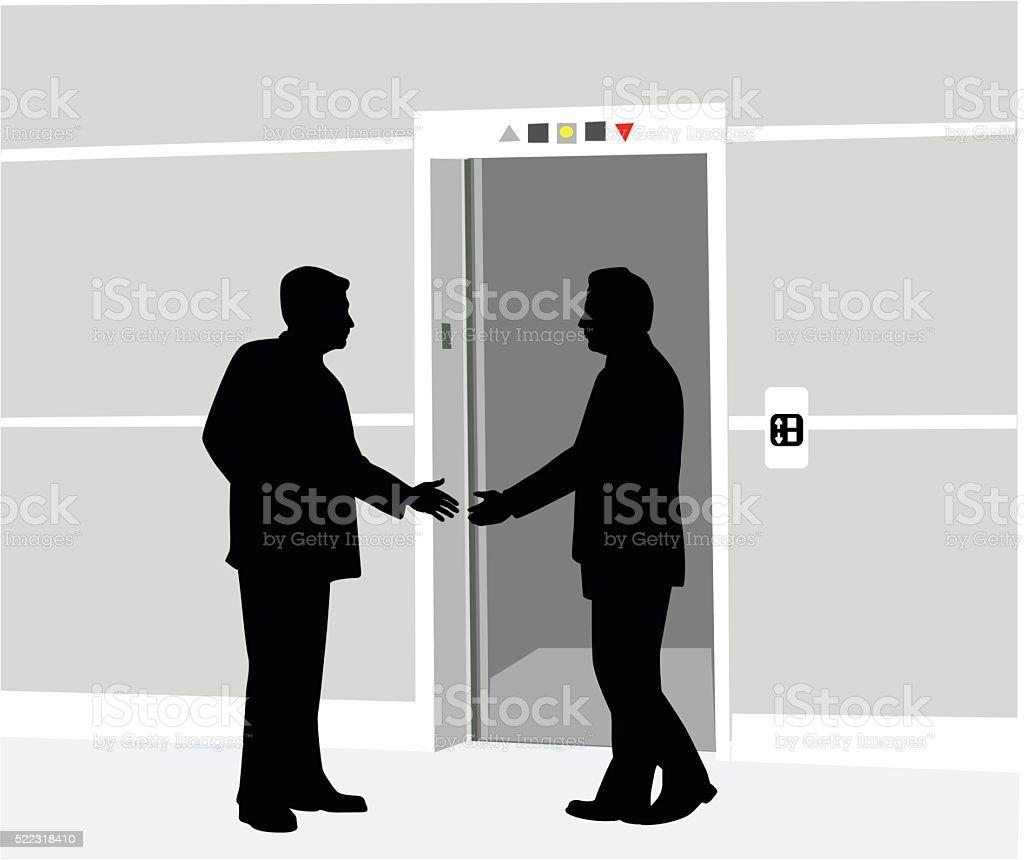 Au Revoir Handshake vector art illustration