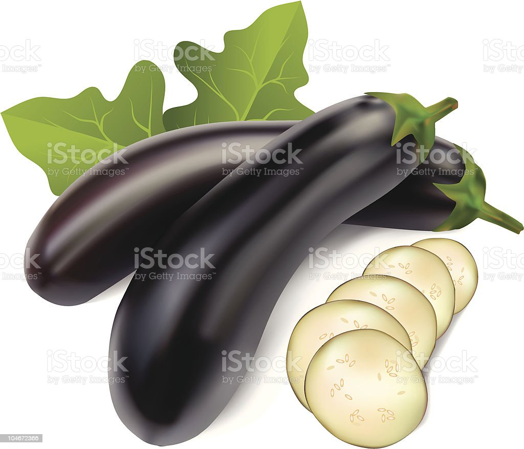 aubergine with leaves royalty-free stock vector art