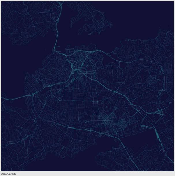 bildbanksillustrationer, clip art samt tecknat material och ikoner med auckland city i nya zeeland art illustration stil karta - map oceans
