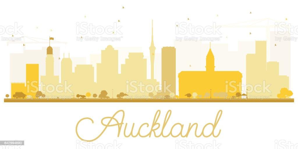 Auckland City skyline golden silhouette. vector art illustration