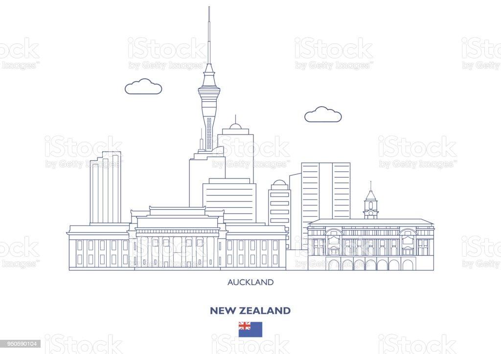 Auckland City Skyline, New Zealand vector art illustration