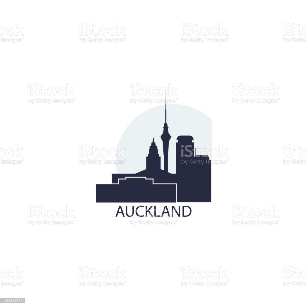 Auckland city skyline shape vector illustration vector art illustration