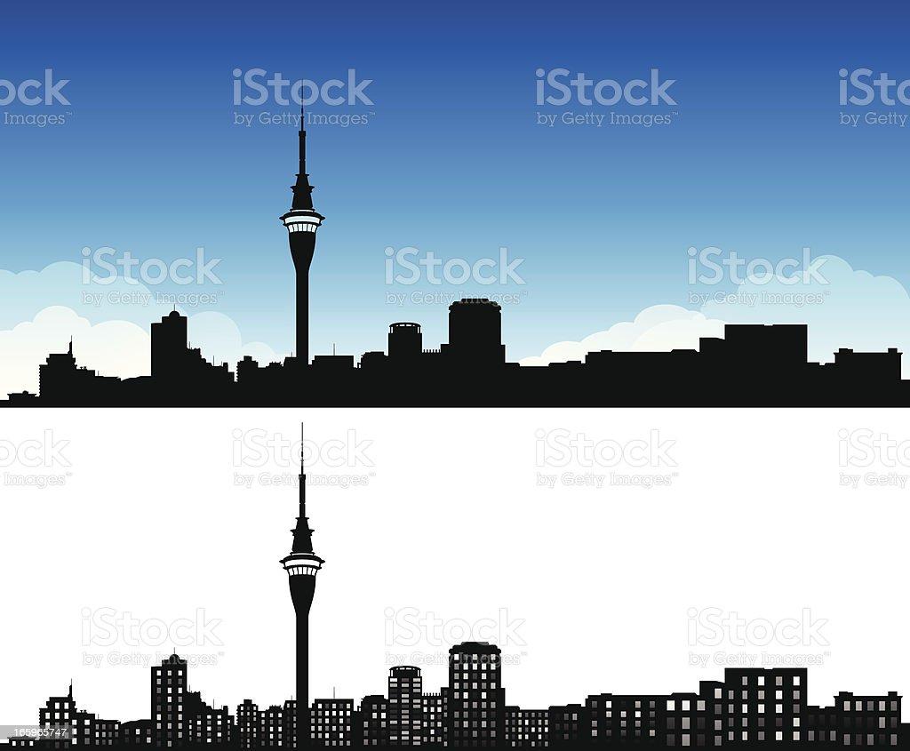 Auckland City Skyline vector art illustration