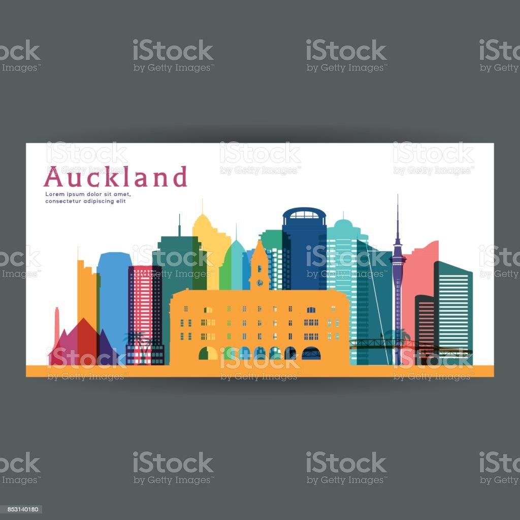 Auckland colorful architecture vector illustration, skyline city silhouette, skyscraper, flat design. vector art illustration