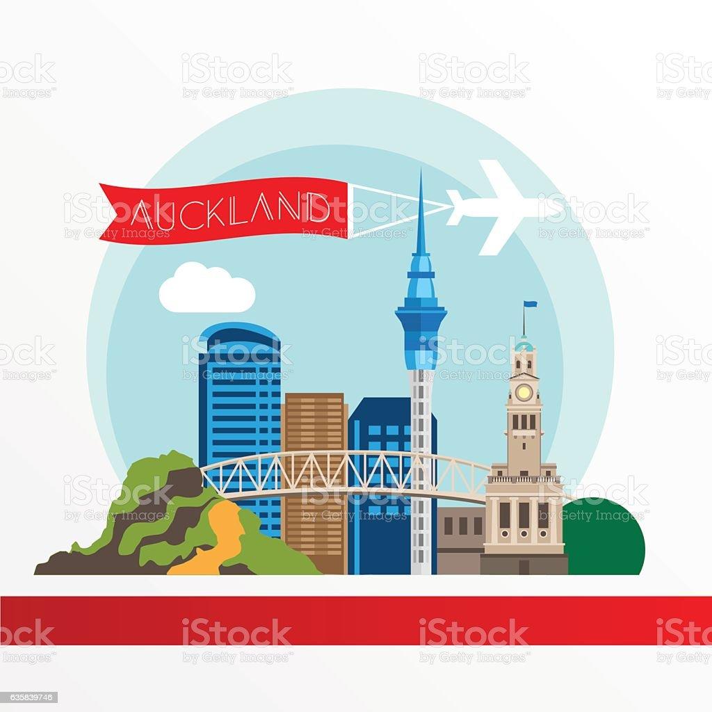 Auckland detailed silhouette. vector art illustration