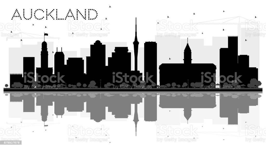 Auckland New Zealand City skyline black and white silhouette with Reflections. vector art illustration
