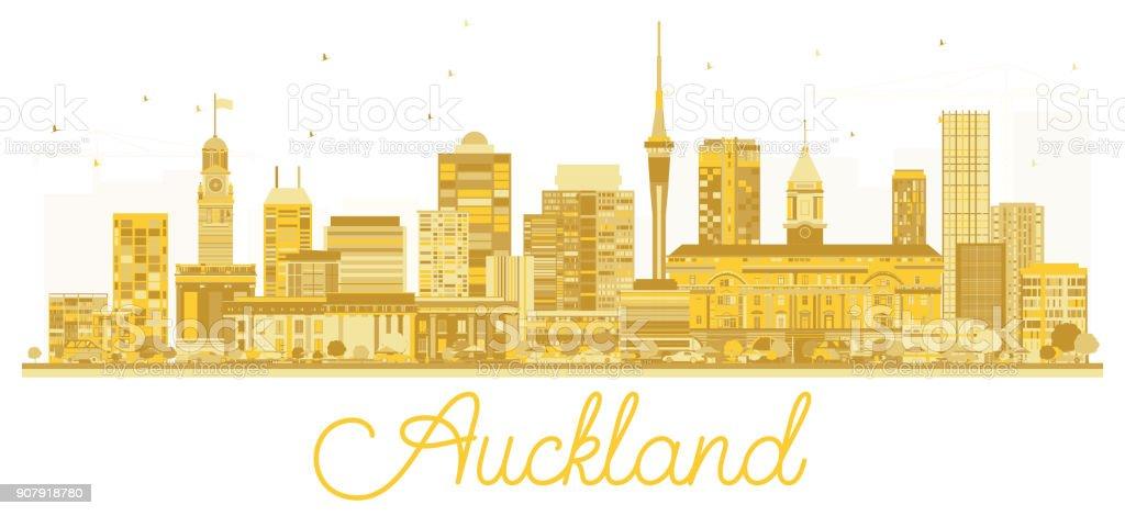 Auckland New Zealand City skyline golden silhouette. vector art illustration