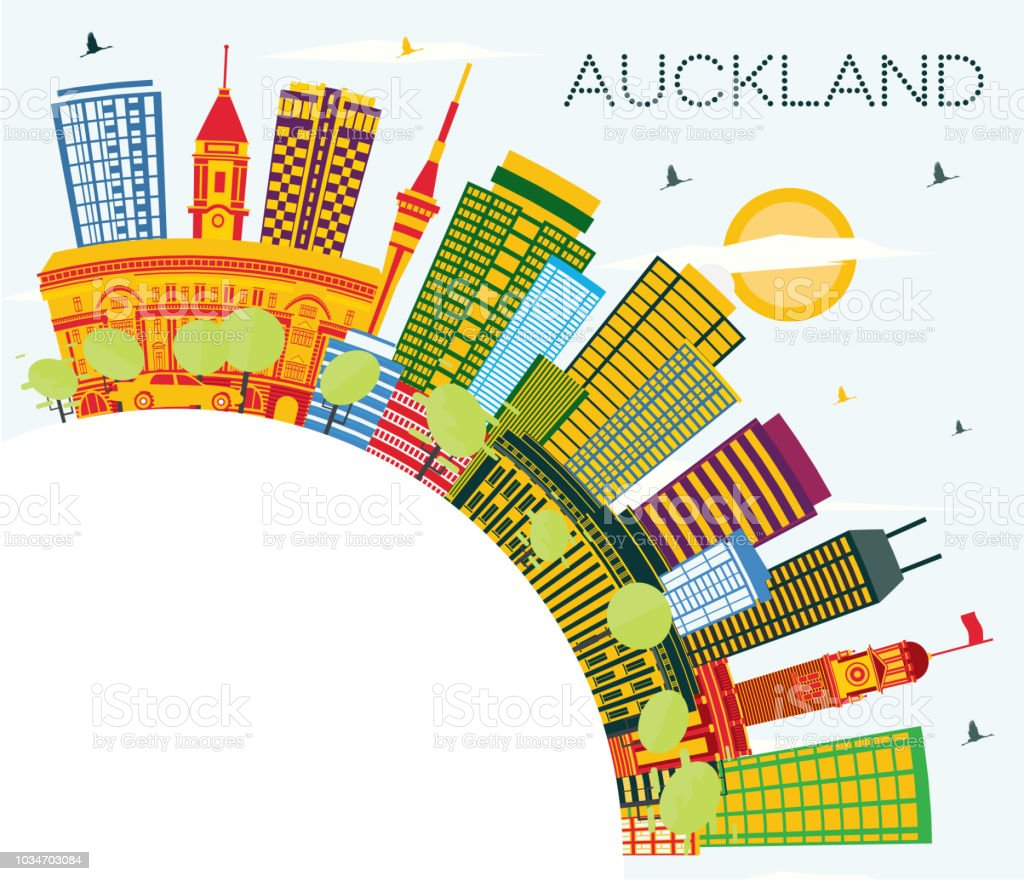 Auckland New Zealand City Skyline with Color Buildings, Blue Sky and Copy Space. vector art illustration