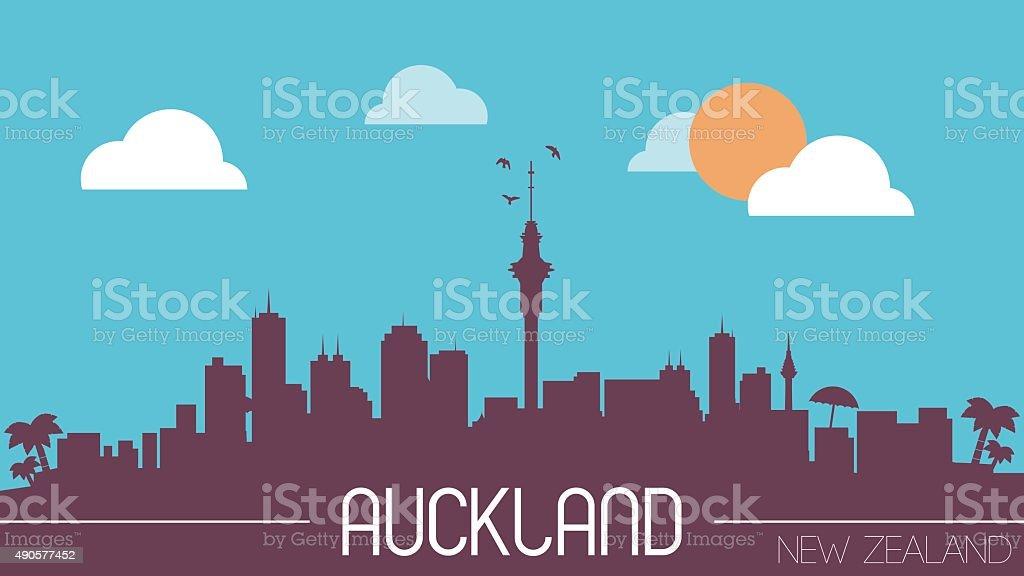 Auckland New Zealand skyline silhouette vector art illustration