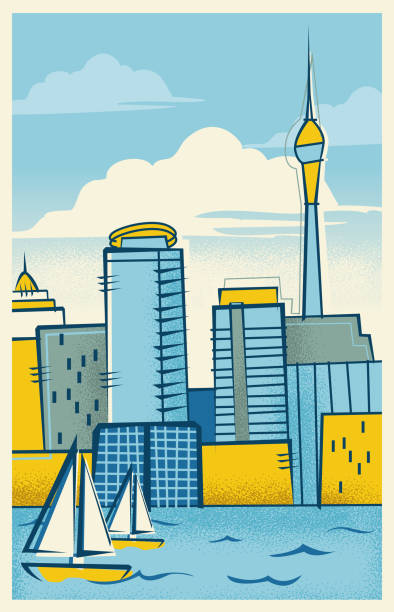 Auckland, New Zealand Skyline vector art illustration