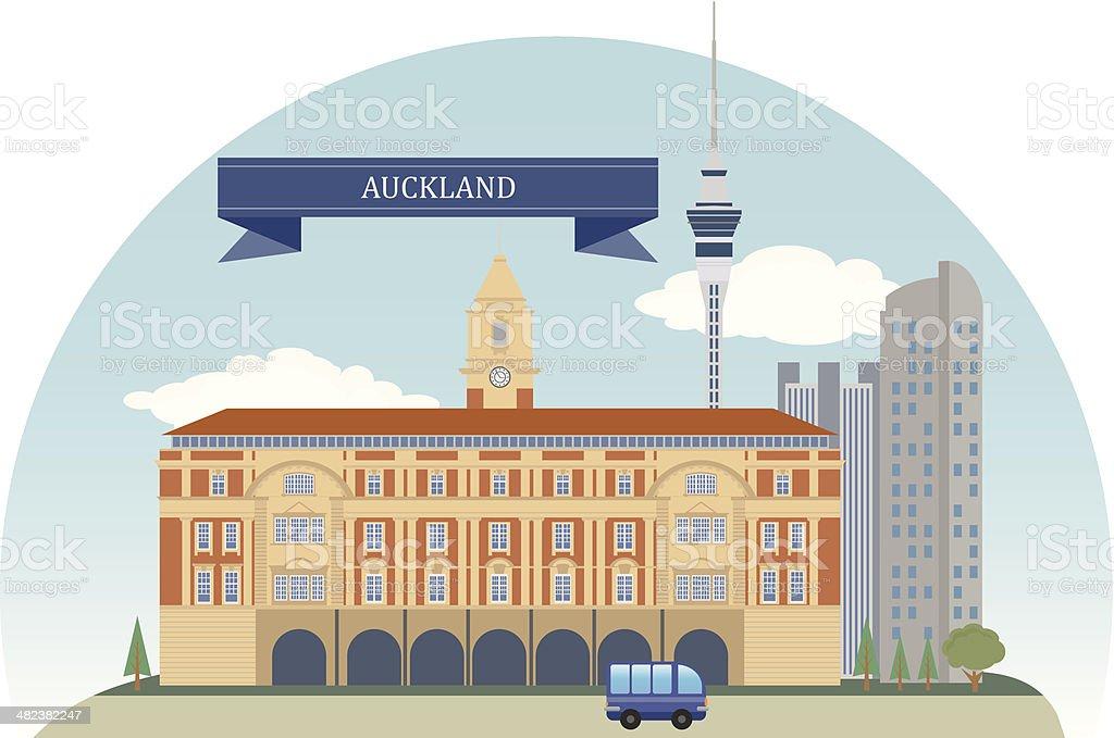Auckland. New Zealand vector art illustration