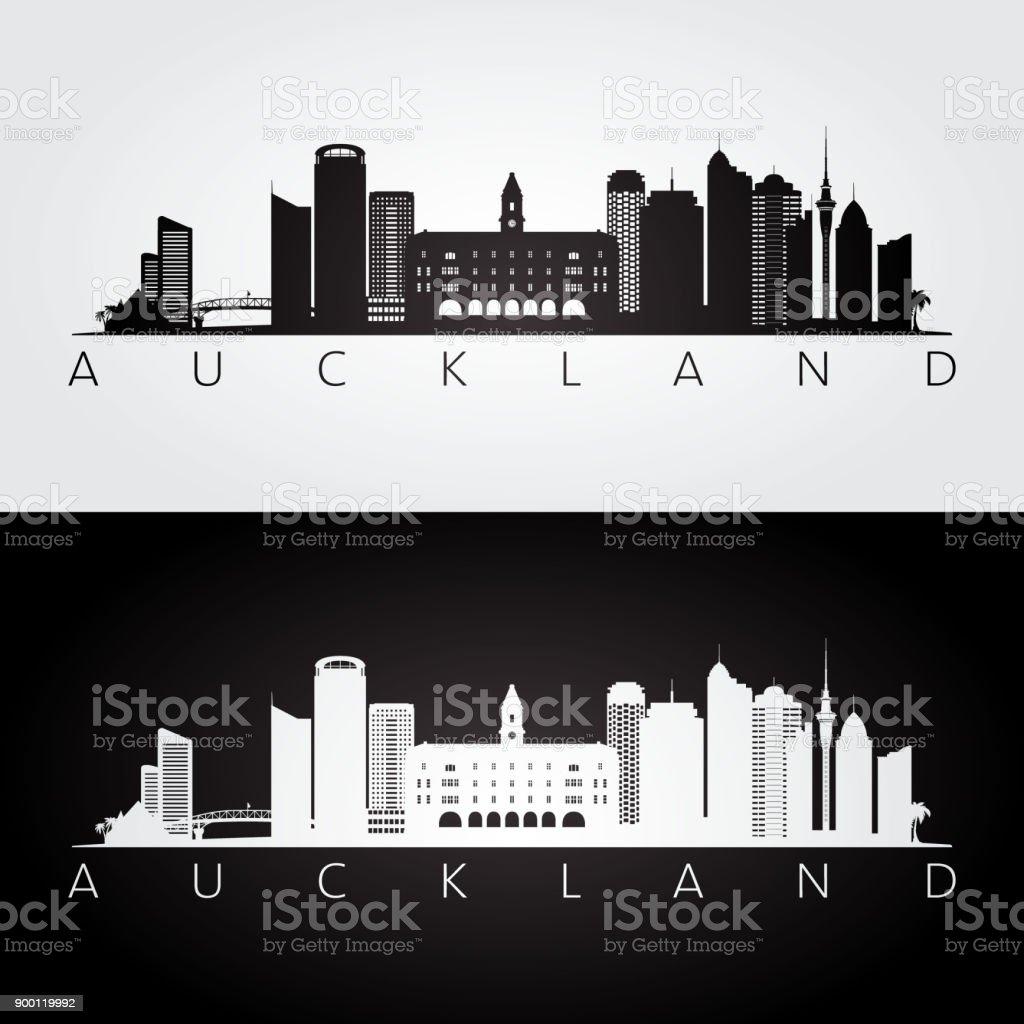Auckland skyline and landmarks silhouette, black and white design, vector illustration. vector art illustration