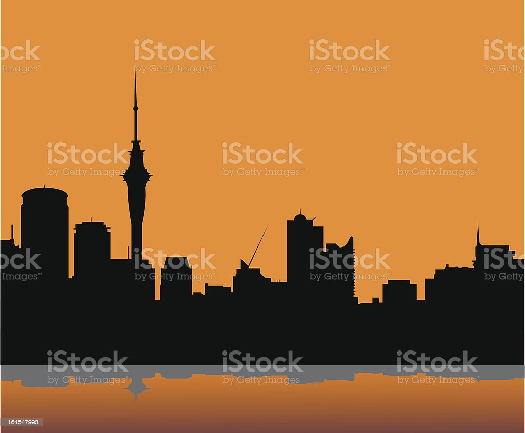 Auckland skyline vector art illustration
