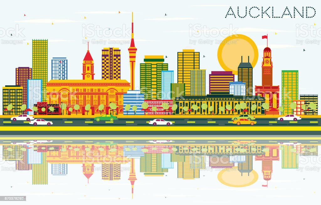 Auckland Skyline with Color Buildings, Blue Sky and Reflections. vector art illustration