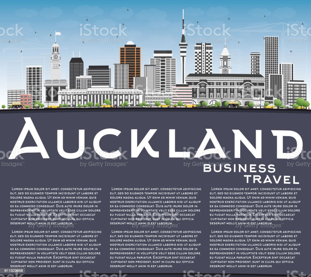 Auckland Skyline with Gray Buildings, Blue Sky and Copy Space. vector art illustration