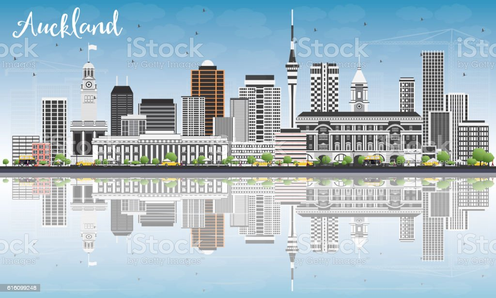 Auckland Skyline with Gray Buildings, Blue Sky and Reflections. vector art illustration
