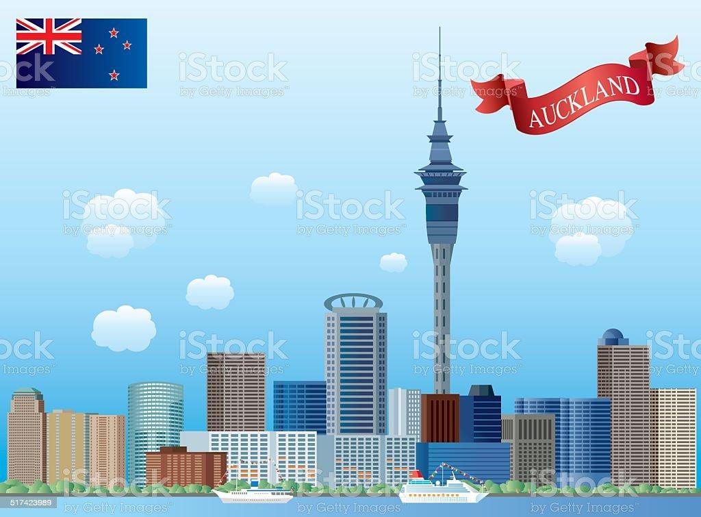 Auckland, vector art illustration