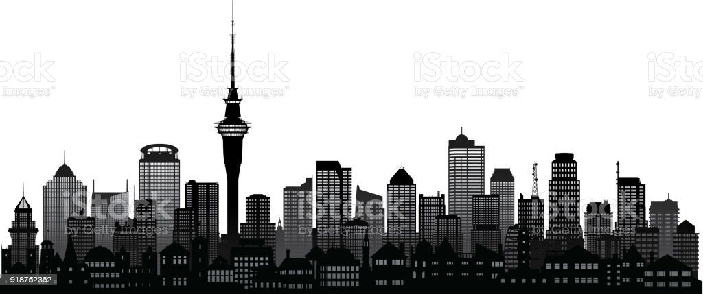Auckland (All Buildings Are Complete and Moveable) vector art illustration