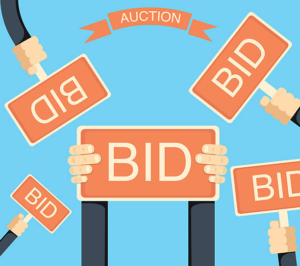 Auction and bidding banner with hands holding bords vector art illustration