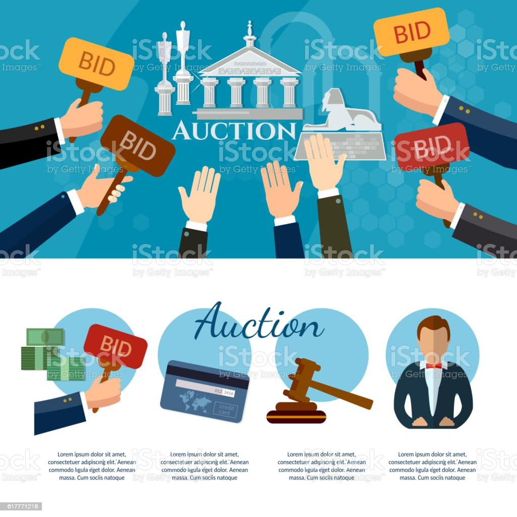 Auction and bidding banners selling antiques vector art illustration