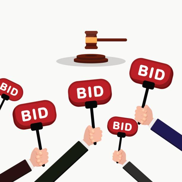 Auction and bidding concept. Hand holding auction paddle. People make bids. Flat illustration. vector art illustration