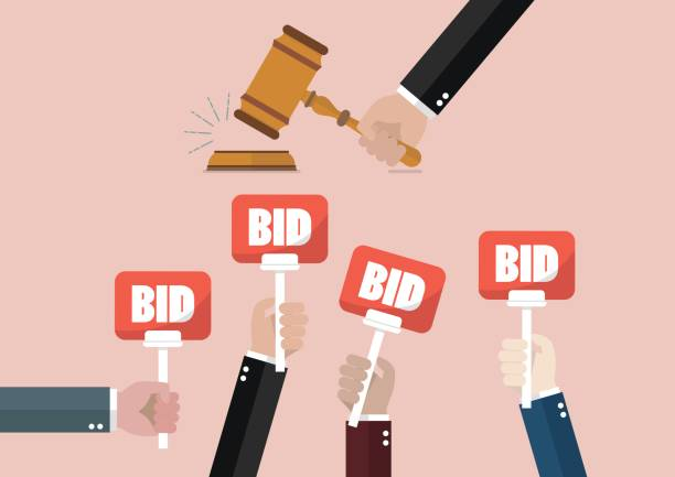 Auction and bidding concept vector art illustration