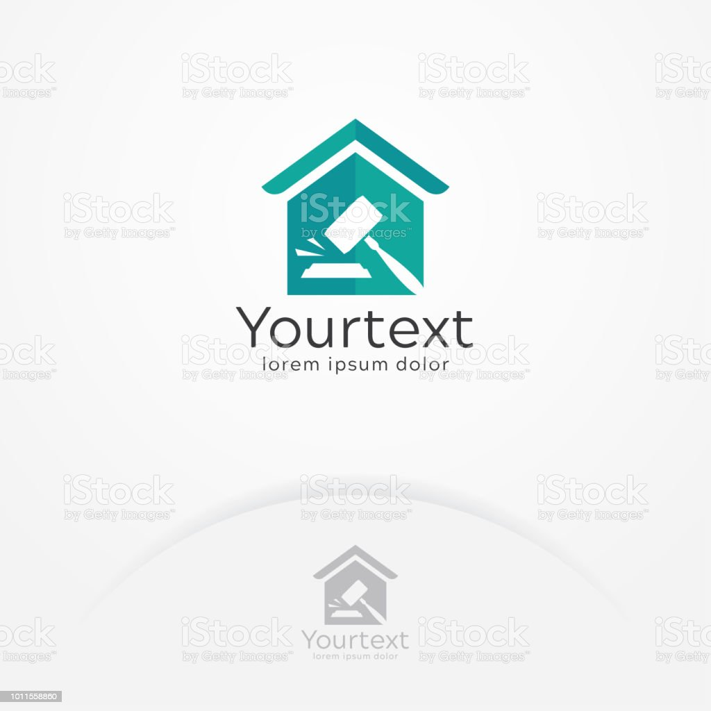 Auction and court logo design vector art illustration
