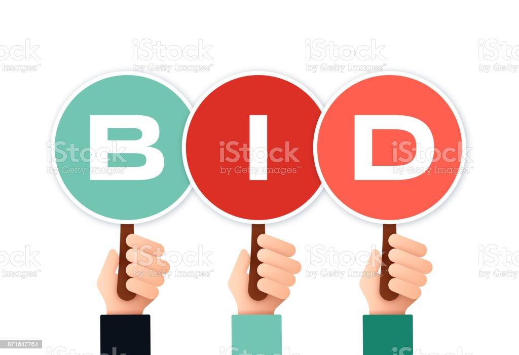 Auction Bidders vector art illustration