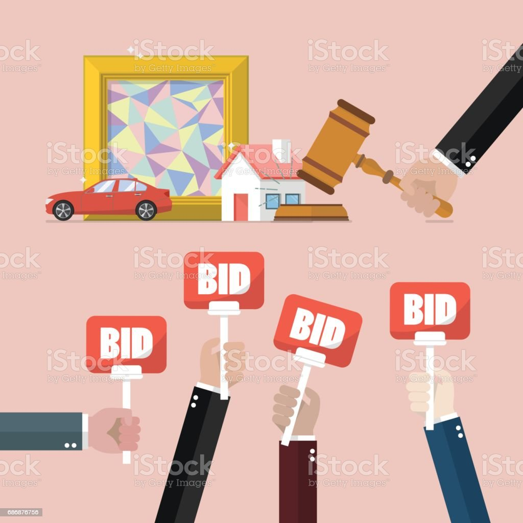 Auction concept in flat style vector art illustration
