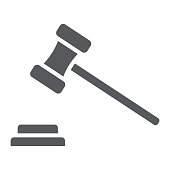 Auction glyph icon, e commerce and marketing, judge gavel sign vector graphics, a solid pattern on a white background, eps 10.