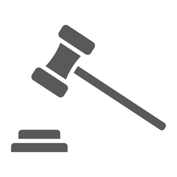 Auction glyph icon, e commerce and marketing, judge gavel sign vector graphics, a solid pattern on a white background, eps 10. Auction glyph icon, e commerce and marketing, judge gavel sign vector graphics, a solid pattern on a white background, eps 10. gavel stock illustrations