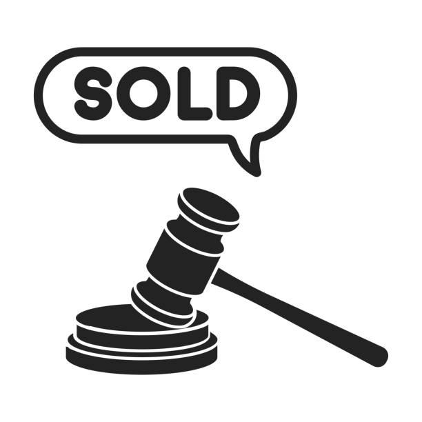 Auction hammer icon in black style isolated on white background. E-commerce symbol stock vector illustration. vector art illustration