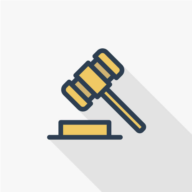 auction hammer, law and justice symbol, verdict thin line flat color icon. Linear vector symbol. Colorful long shadow design. vector art illustration