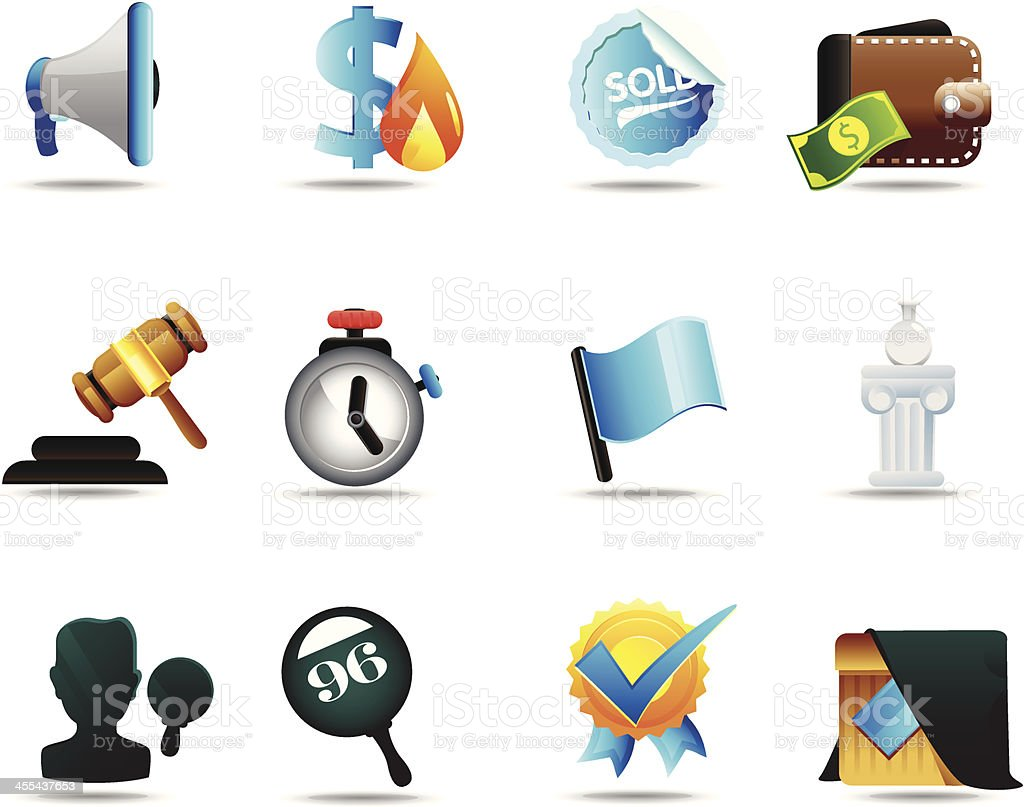 Auction Icon Set royalty-free stock vector art