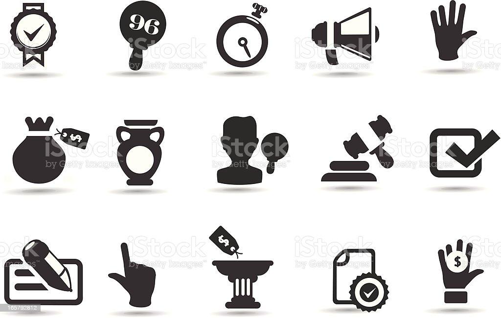 Auction Icons vector art illustration