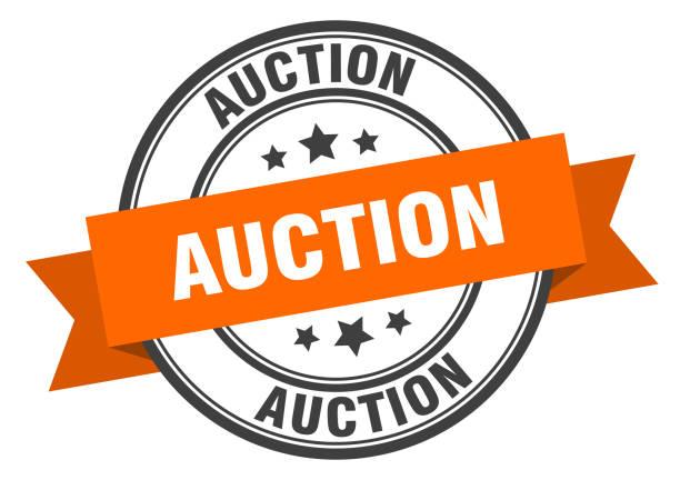 auction label. auction orange band sign. auction auction label. auction orange band sign. auction auction stock illustrations