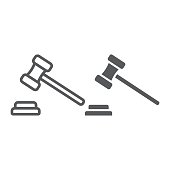 Auction line and glyph icon, e commerce and marketing, judge gavel sign vector graphics, a linear pattern on a white background, eps 10.