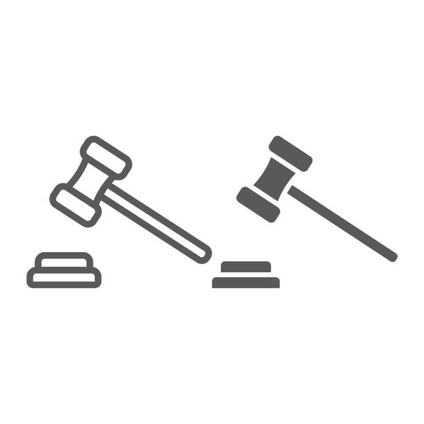 Auction line and glyph icon, e commerce and marketing, judge gavel sign vector graphics, a linear pattern on a white background, eps 10. Auction line and glyph icon, e commerce and marketing, judge gavel sign vector graphics, a linear pattern on a white background, eps 10. gavel stock illustrations
