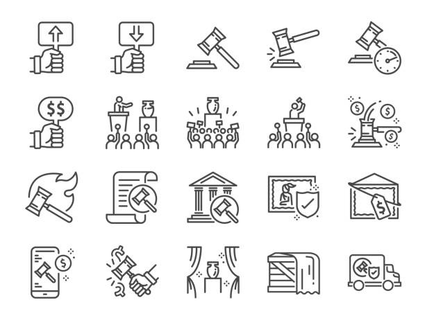 Auction line icon set. Included icons as hammer, price, bidding, judge, auction hammer,painting, deal and more. Auction line icon set. Included icons as hammer, price, bidding, judge, auction hammer,painting, deal and more. auction stock illustrations