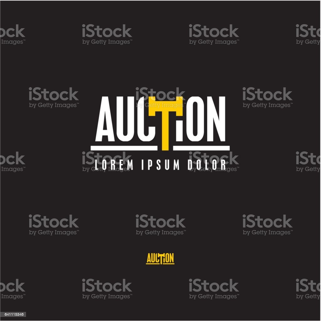 Auction logo vector art illustration