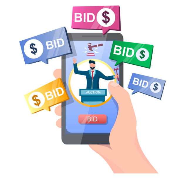Auction online vector concept for web banner, website page Auction online, vector illustration. Hand holding smartphone with auctioneer, gavel, bid button on screen and bidder messages. Auction and mobile bidding concept for web banner, website page etc. auction stock illustrations