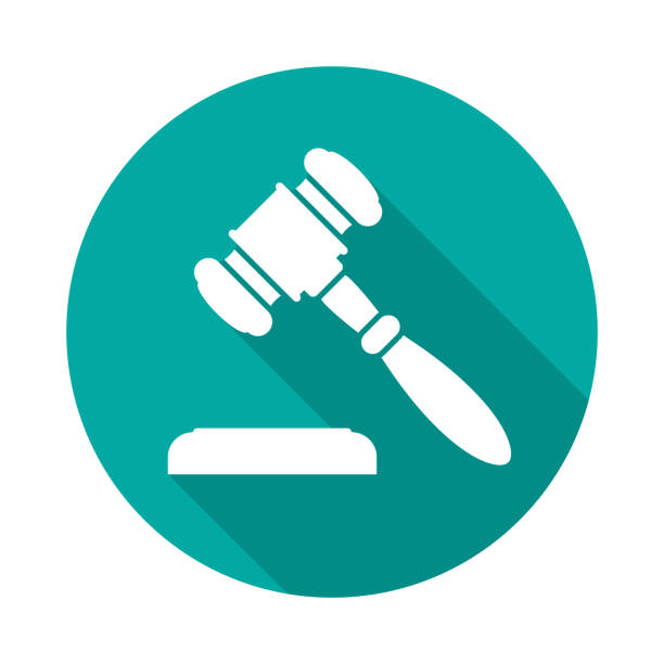 Auction or judge gavel circle icon with long shadow. Flat design style. vector art illustration