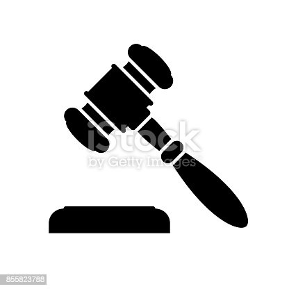 Auction or judge gavel icon. Black, minimalist icon isolated on white background. Auction or judge gavel simple silhouette. Web site page and mobile app design vector element.