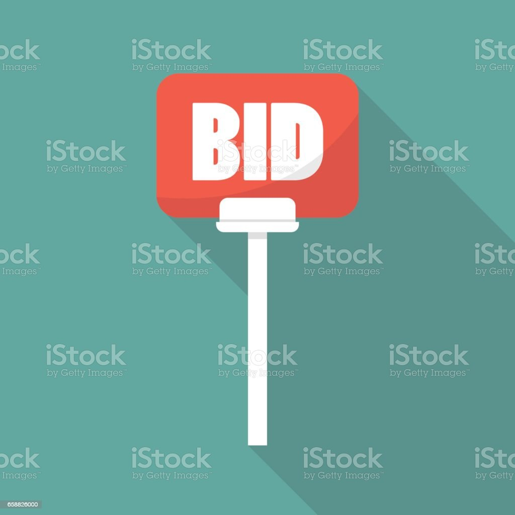 Auction paddle in flat style vector art illustration