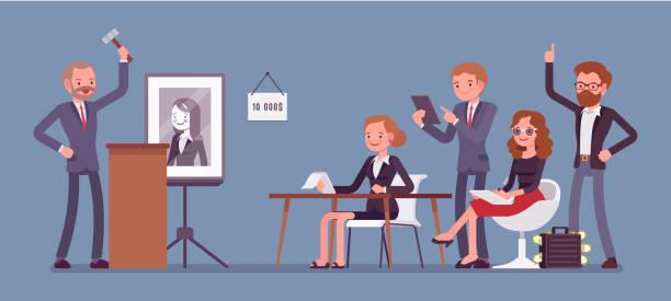 Auction public sale vector art illustration